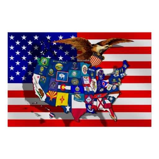 American Eagle USA flag US State flags map Posters