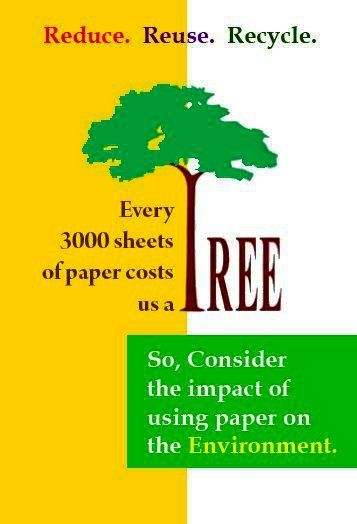Reduce * Reuse * Recycle It's critical to teach students the importance of conserving natural resources. They can identify with saving trees.