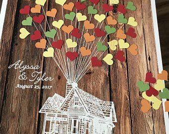 Herbst Hochzeit Gästebuch Ideen, mit Klebstoff herzförmige Ballons, 3D Haus Gast Buch Plakat Holz rustikal Hochzeit, Disney Hochzeit