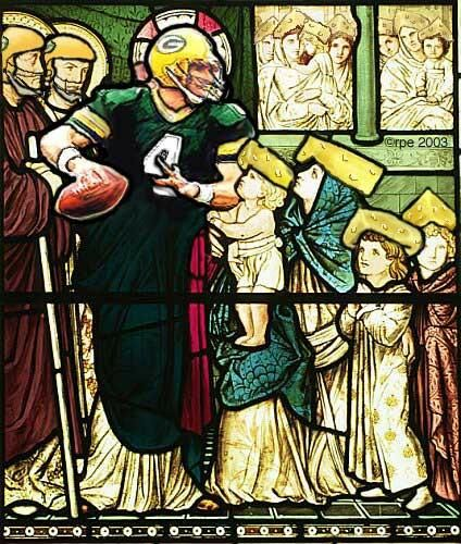 stained glass windows in wisconsin churches | Brett Favre is the Green Bay patron saint of wild wishes.