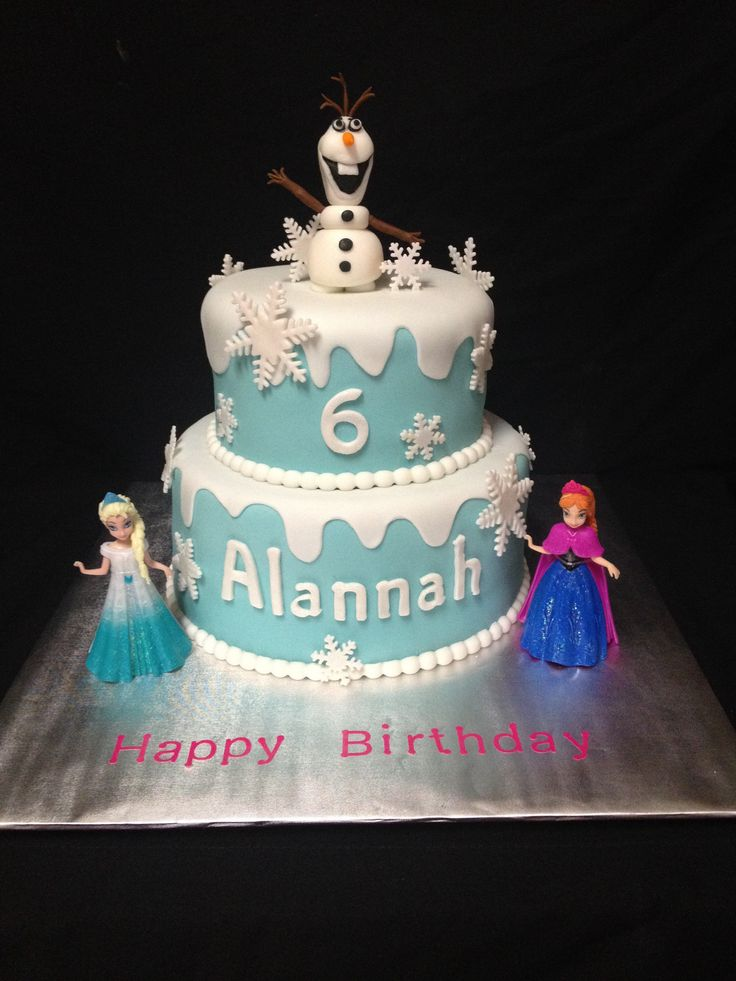 Frozen Birthday Cake w/ Olaf as the topper!