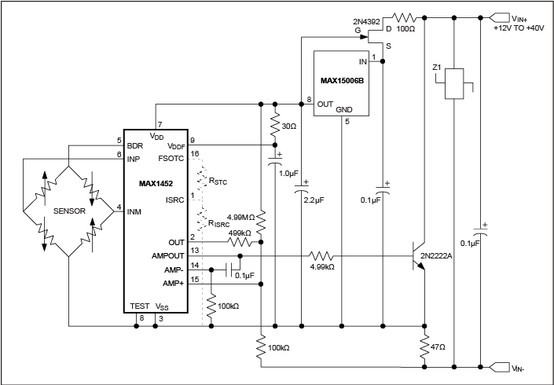 This precision circuit provides a highly integrated pressure transducer (wheatstone bridge) to current loop interface.