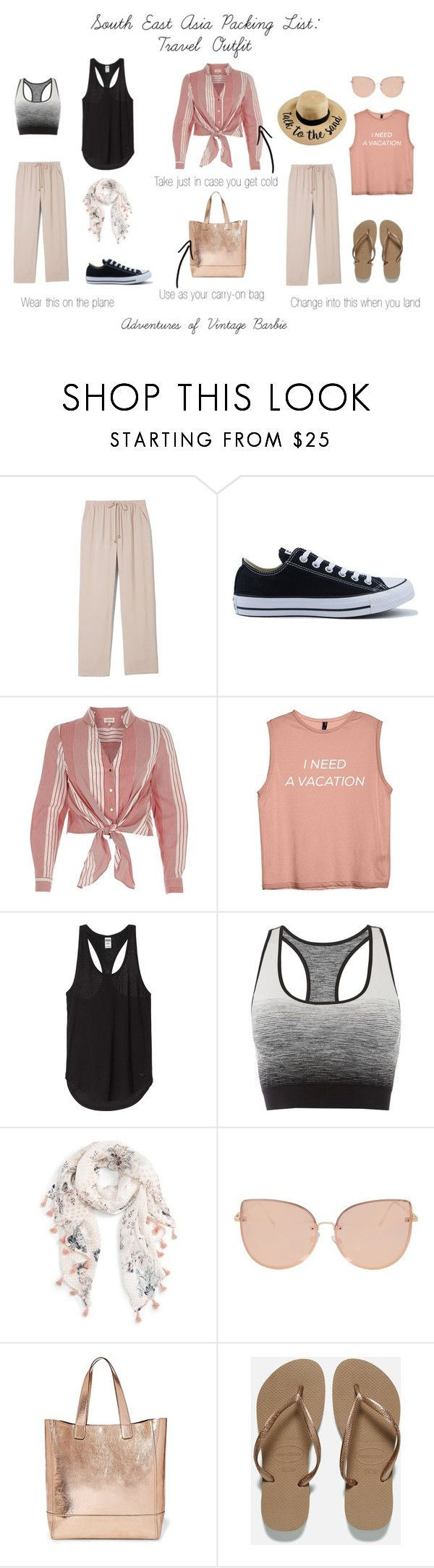"""""""South East Asia Packing List: Travel Outfit"""" by vintagebarbie17 on Polyvore featuring Vince Camuto, Converse, River Island, Pepper & Mayne, Caslon, Topshop, Steve Madden and Havaianas"""