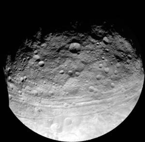 """""""Asteroid's Troughs Suggest Stunted Planet  ScienceDaily (Sep. 26, 2012) — Enormous troughs that reach across the asteroid Vesta may actually be stretch marks that hint of a complexity beyond most asteroids... a large collision could have created the asteroid's troughs. But, this would only have been possible if the asteroid is differentiated -- meaning that it has a core, mantle and crust...""""By saying it's differentiated, we're basically saying Vesta was a little planet trying to happen..."""""""