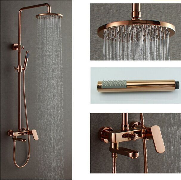 Rose Gold Polish 8  Brass Rain Shower Head Exposed Shower Faucet Set Mixer Tap