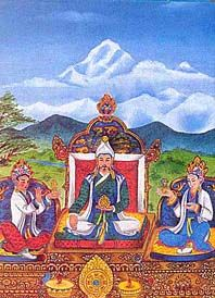 The Great King Songtsen Gampo with his Nepalese and Chinese Queen  During the reign of King Songtsen Gampo (629-49) Tibet became a great military power and her armies marched across Central Asia. He promoted Buddhism in Tibet and sent one of his ministers and other young Tibetans to India for study. He first took a Tibetan princess from the Shangshung King as his wife and then obtained a Nepalese consort. After invading the Chinese Empire he also obtained a Chinese princess as one of his…
