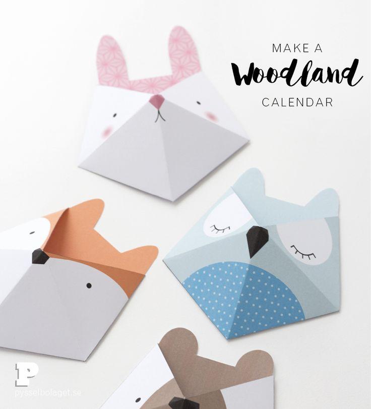 Printable Woodland Advent Calendar by Pysselbolaget