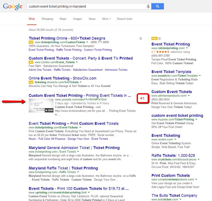 1 for search result - Local Marketing Muscle local SEO results - make your own tickets template