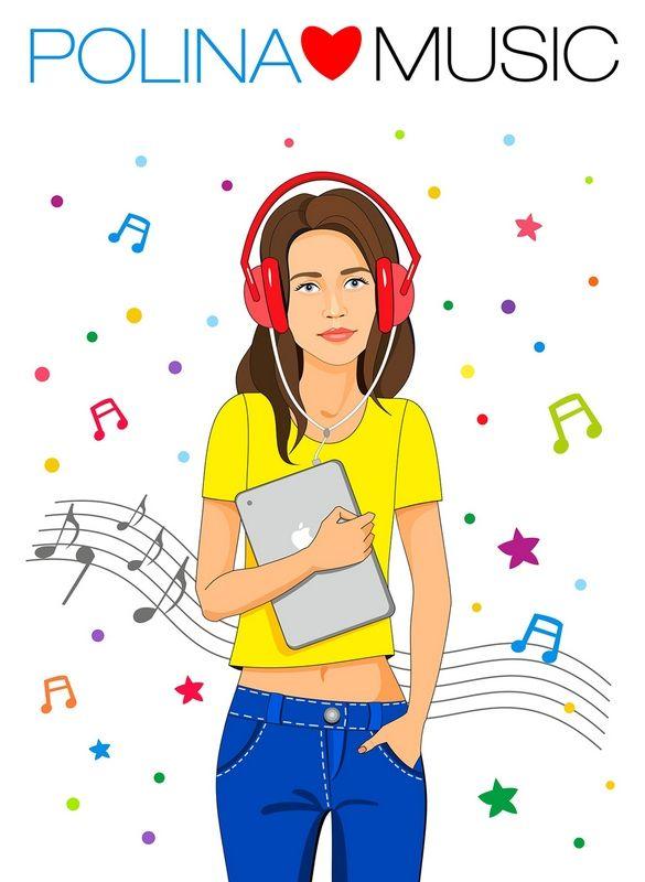 fashion illustration, girl, music