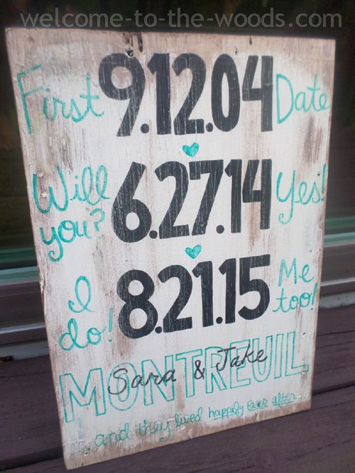 Wooden diy sign with important dates in your relationship painted on it. Great wedding present idea!
