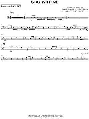 """Sam Smith """"Stay With Me - Bass Clef Instrument"""" Sheet Music (Cello, Trombone, Bassoon, Baritone Horn or Double Bass) - Download & Print"""