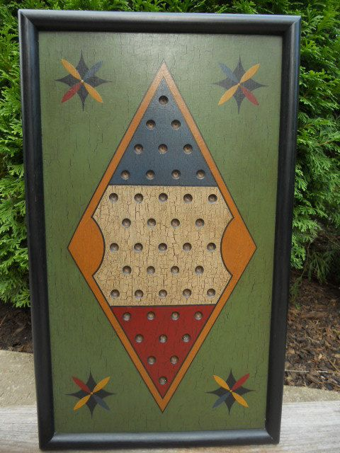 "Primitive 2 Player Chinese Checker Game Board Folk Art 11"" x 19"" Wood Game Board"