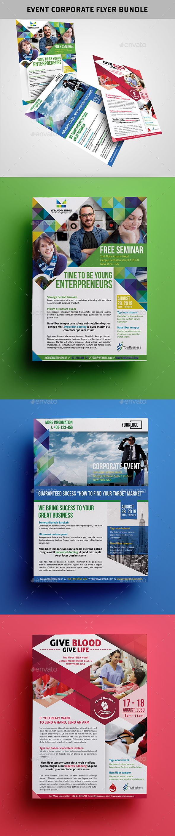 Event Corporate Flyer Bundle Templates PSD #design Download: http://graphicriver.net/item/event-corporate-flyer-bundle/13058039?ref=ksioks