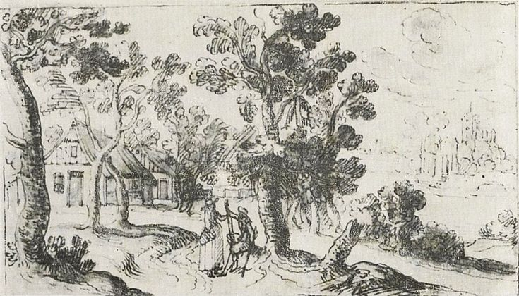 Alexander Keirincx (1600–1652) The Road through a village. 1634   ink, wash and watercolor on paper 8.3 × 14.1 cm (3.3 × 5.6 in) National Museum in Warsaw (MNW)