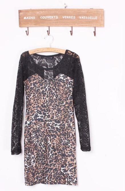Graceful Lace Splicing Long Sleeve Slim Leopard Dress Black: Leopard Dress, Dresses Black, Apparel موضة, Dress Black, Lace Splice, Slim Leopards, 2013 Summer, Grace Lace, Leopards Dresses