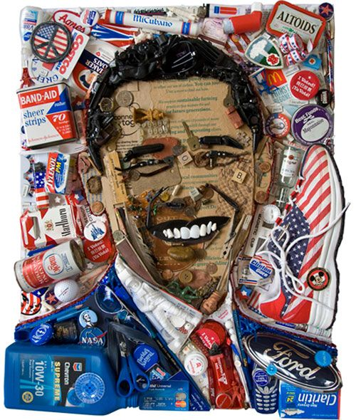 PRESIDENT BARACK OBAMA, Recycled red, white & blue trash including McDonalds wrappers, toy soldiers, cigarettes, a Costco card, and a pretty sweet sneaker.