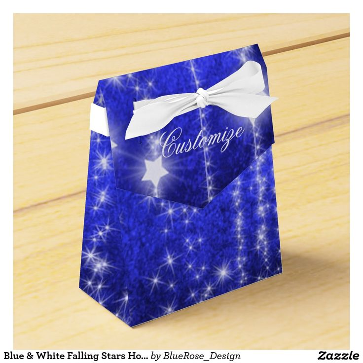 Blue & White Falling Stars Holiday Tent Favor Box