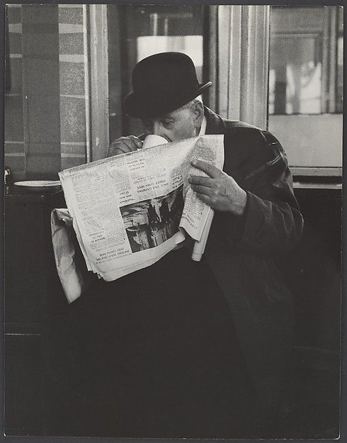 Leon Levinstein | [Man in Bowler Hat Reading Newspaper and Drinking Tea, London] | The Metropolitan Museum of Art