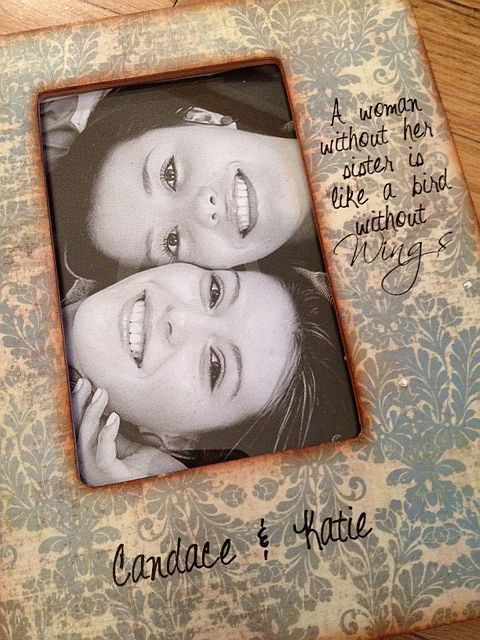 Personalized Sister Picture Frame Gift For Sister 4x6 Damask. $29.50, via Etsy.