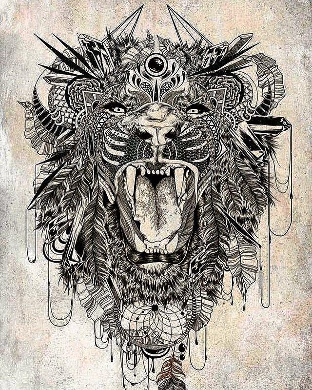 Lion  Abstract art Tattoo