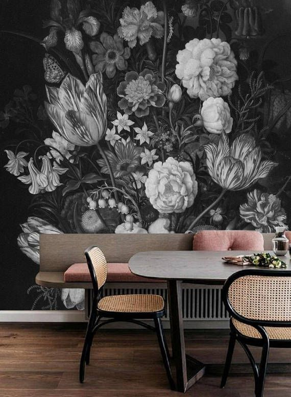 Dark Floral Mural, Dutch Dark Vintage Floral Removable Wallpaper, Baroque floral bouquet, Still Life Flowers, Dark Blossoms Peel&Stick #124