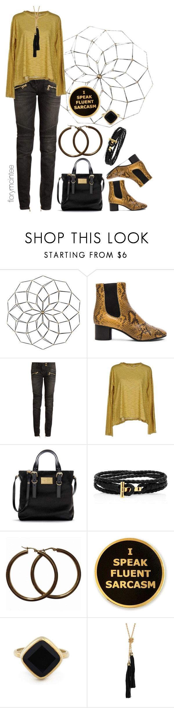 """I Speak Fluent Sarcasm"" by florymcintee ❤ liked on Polyvore featuring Isabel Marant, Balmain, Gilda Midani, Sole Society and Sterling Forever"