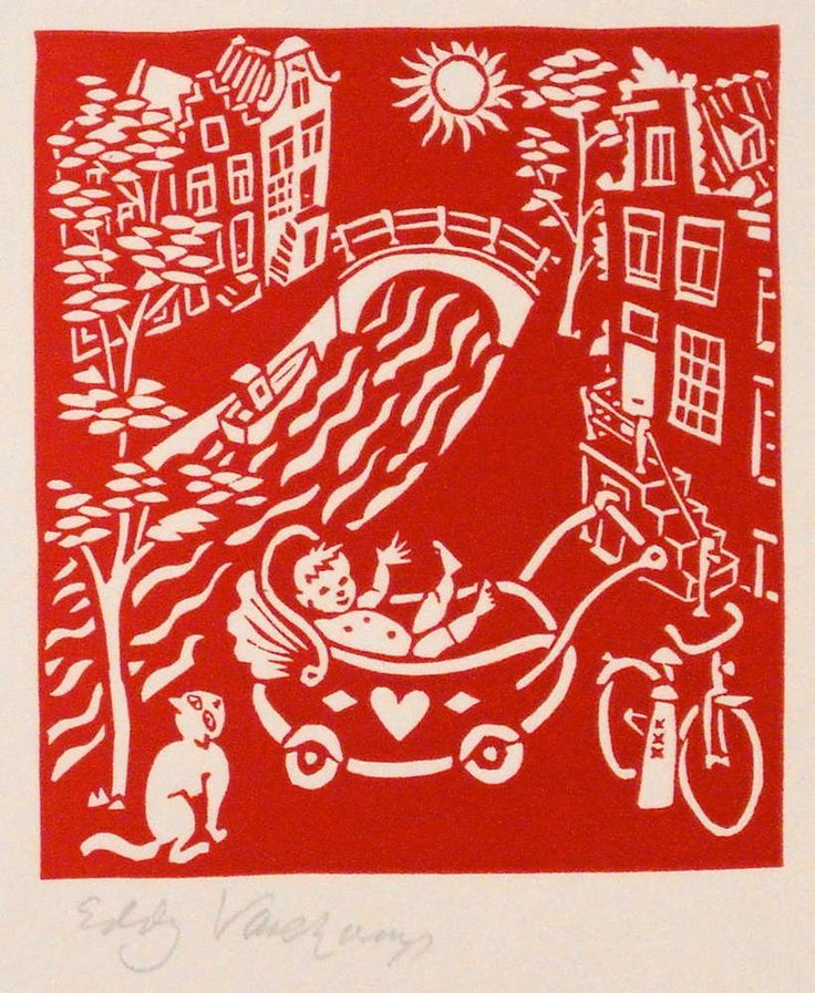 baby in Amsterdam - Linocutprint
