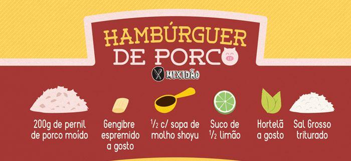 Receita de Hambúrguer de porco. Uma boa opção para sair das carnes de boi é muito simples de preparar. Ingredientes: Pernil do Porco, gengibre, molho shoyu, suco de limão, hortelã e sal grosso.