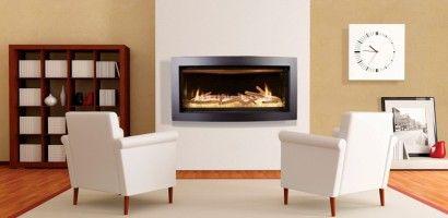 Produits de chauffage JADE  Le foyer au gaz Slayton 42 est muni d'une élégante décoration en noir courbé ainsi qu'un système de modulation à distance de la soupape de sorte que vous êtes en mesure de contrôler la hauteur de la flamme.