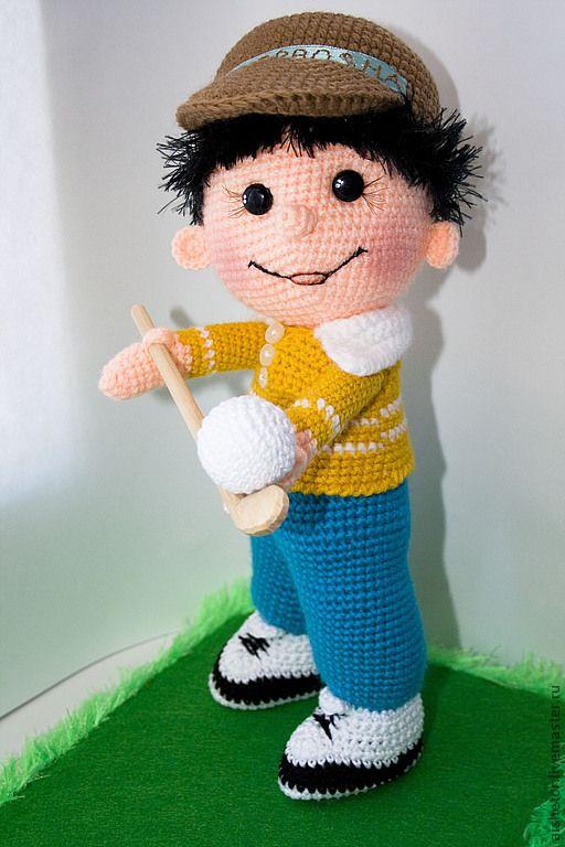 Коллекционные куклы ручной работы. Игрушка мальчик  Джерри подарок спортсменам гольф. ВязАйкины игрушки. Ярмарка Мастеров. Сувениры и подарки