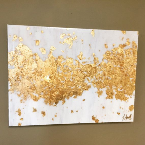 Acrylic and Gold Leaf Abstract Painting on Canvas with High Gloss Resin Coat 20x24