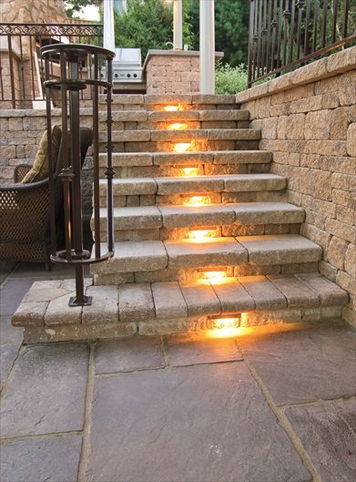 "Curb Appeal! Lighting! *SO cute!! This would be lovely leading down into the ""beach"" and firepit, or as a patio outside a walkout basement, which I actually kind of love!!"