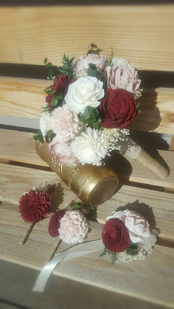 New Marsala Red Blush and Ivory Spring Greenery Sola Flower