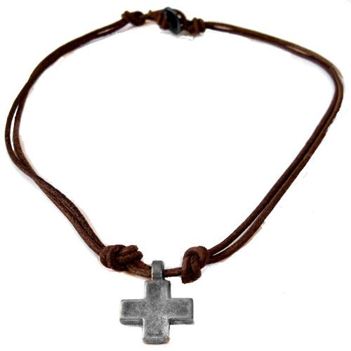 Cross Necklace Lucky Cross Leather Necklace for men and women