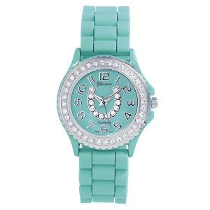 Crystal Horseshoe Rubber Watch Aqua - Horse Themed Gifts, Clothing, Jewelry & Accessories all for Horse Lovers