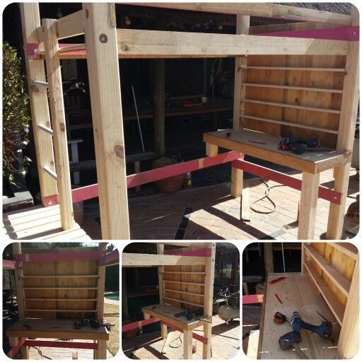 Bunk with stairs and desk in progress