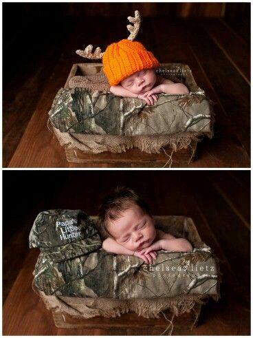 Ahhh papas little hunter cute new born pics