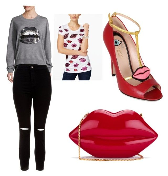 If ur lips of movin then ur lien by rimalee on Polyvore featuring polyvore, fashion, style, INC International Concepts, Markus Lupfer, New Look, Gucci, Lulu Guinness and clothing