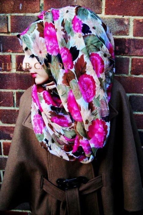 floral hijab , cute <3