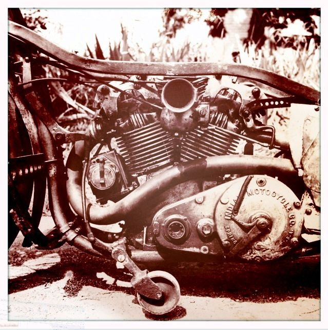 Burt's Indian Scout motor. Originally a 600cc two cam flat head V-twin capable of 55mph. Munro modified it to OHV configuration of 2 valve hemi design with 4 cam operation and 953cc. He achieved an unofficial speed at Bonneville in 1966 of 212mph!