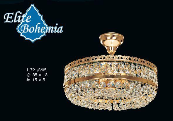 Złoty plafon z lustrem i kryształkami Swarovskiego - Elite Bohemia