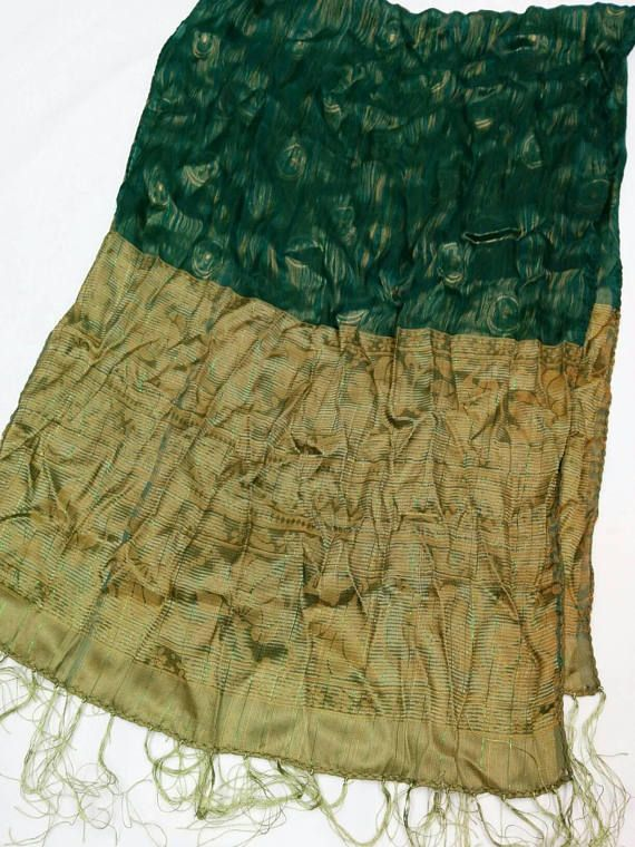 Check out this item in my Etsy shop https://www.etsy.com/listing/577362734/fancy-green-and-gold-shawl-scarf