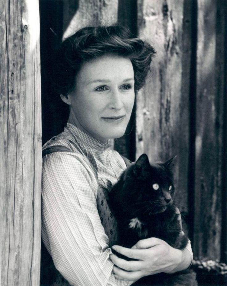 Glenn Close with black cat in the movie, Sarah Plain and Tall.