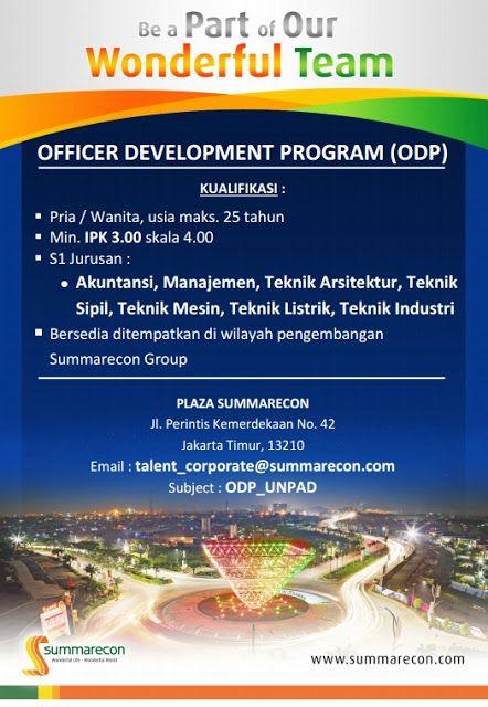 Download File        LOWONGAN KERJA    PT Summarecon Agung, Tbk membuka lowongan kerj adalam program:    Officer Development Program (...