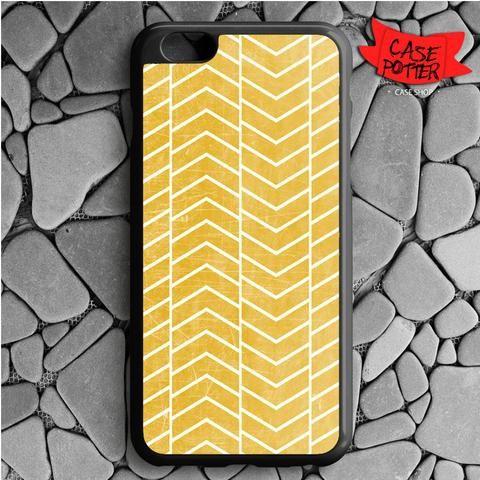 Yellow White Chevron iPhone 6 Plus iPhone 6S Plus Black Case