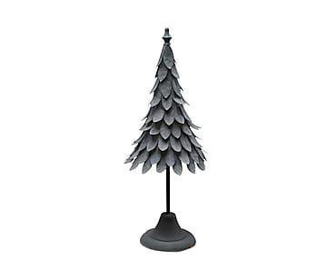 Рождественская ёлка - патинированный металл - серый-53х17х17 см
