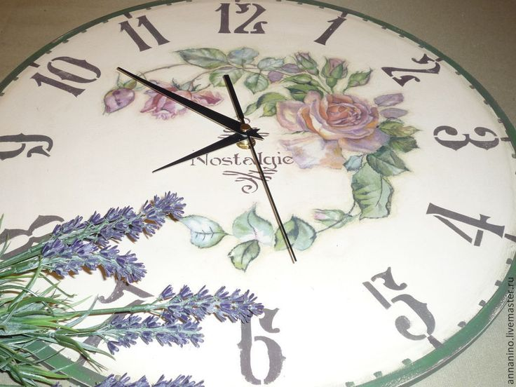 Купить Часы настенные Nostalgie Винтаж - бежевый, часы настенные, винтажные часы, розы