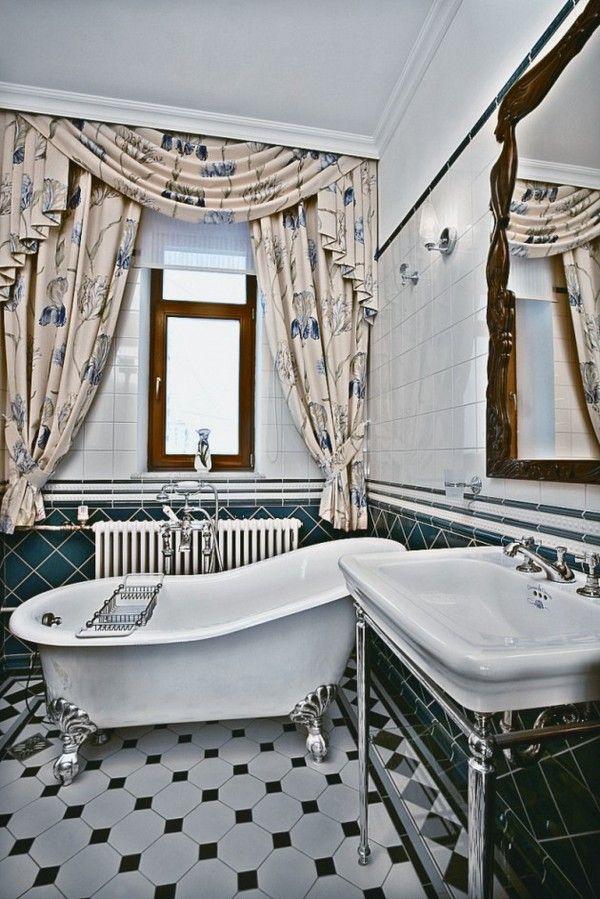 Jugendstil Gardinen Blaue Fliesen Spiegel Ornamente Art Deco Badezimmer Jugendstil Deko Interieur