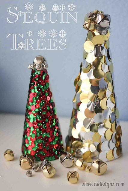 Sequin trees- easy and inexpensive way to bling up your holiday decor @sweetcsdesigns.com