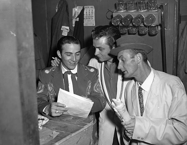 Faron Young Johnny Cash and Rod Brasfield c 1956 Location not determined but backstage at Grand Ole Opry